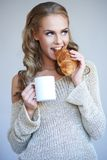 Cute girl holding white cup Royalty Free Stock Photo