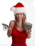 Cute girl holding xmas gift Royalty Free Stock Image