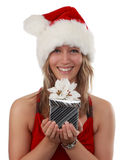 Cute girl holding xmas gift Royalty Free Stock Photo