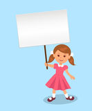 Cute girl holds a poster for your message Royalty Free Stock Images