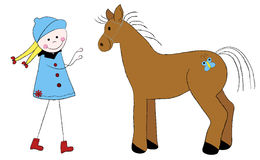 Cute girl with horse. An illustration of Cute girl with horse Stock Illustration
