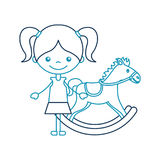 Cute girl with horse wooden character icon Royalty Free Stock Photos