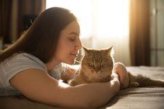 Girl hugging her beloved red cat. Focus on the cat. Cute girl hugging her beloved red cat. Focus on the cat stock photos