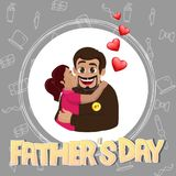 Cute girl hugging and kissing her father. Happy Father`s Day cel. Ebration background vector illustration