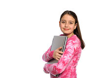 Cute girl hugging laptop computer Royalty Free Stock Image