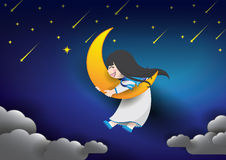 Cute girl hugging moon in night sky. Royalty Free Stock Images