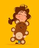 Cute girl hugging teddy bear Royalty Free Stock Photography