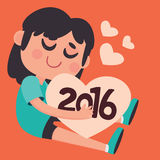 Cute Girl Hugging the Upcoming New Year 2016. Vector illustration of a cartoon girl hugging the upcoming New Year 2016 with lots of love and hearts royalty free illustration