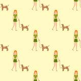 Cute girl human character holding strongly cuddling dog seamless pattern vector illustration of happy kid and pet. Adult caucasian woman with animal stock illustration