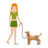 Cute girl human character holding strongly cuddling dog vector illustration of happy kid and pet. Adult caucasian woman with animal stock illustration