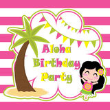 Cute girl ia happy in Aloha party  cartoon, birthday postcard, wallpaper, and greeting card Royalty Free Stock Image