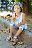 Cute girl with ice cream Royalty Free Stock Photo