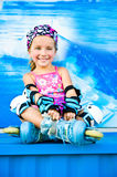 Cute Girl In Roller Skates Royalty Free Stock Images