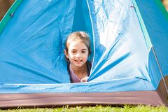 Cute Girl Inside Tent Stock Photos