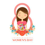 Cute girl for International Women's Day concept. stock illustration