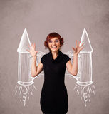 Cute girl with jet pack rocket drawing illustration Stock Photo
