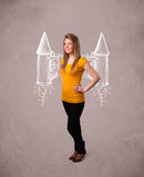 Cute girl with jet pack rocket drawing illustration Royalty Free Stock Photography