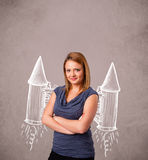 Cute girl with jet pack rocket drawing illustration Stock Photography