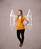 Cute girl with jet pack rocket drawing illustration Royalty Free Stock Images