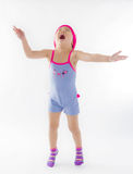 Cute girl jumping with joy Royalty Free Stock Images