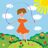 Cute girl jumping with the skipping-rope. Cartoon Stock Image
