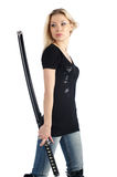 Cute girl with katana Royalty Free Stock Photography