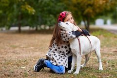 Beautiful young girl playing with dog outdoors. Pet concept. Cute girl kid with doggie walking in the park. Having fun together outdoors on the nature Royalty Free Stock Photos