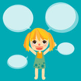 Cute girl kids talk with bubble vector Stock Photos
