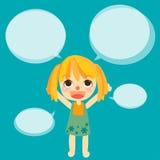 cute girl kids talk with bubble vector Stock Photos