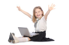 Cute girl with laptop Stock Images