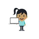 Cute girl with laptop cartoon character Royalty Free Stock Images