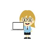 Cute girl with laptop cartoon character Royalty Free Stock Photos