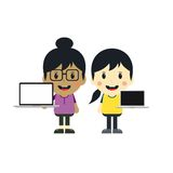 Cute girl with laptop cartoon character Royalty Free Stock Image