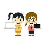 Cute girl with laptop cartoon character Stock Image