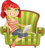 Cute girl with a laptop in a chair Royalty Free Stock Photography