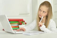 Cute girl with laptop Royalty Free Stock Images