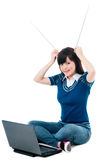 Cute Girl With Laptop And Holding Antennas On Head Stock Photos
