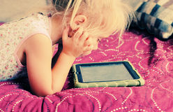 Cute girl with laptop Royalty Free Stock Photo