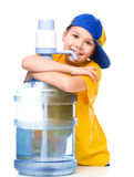 Cute girl with large water bottle Royalty Free Stock Photos