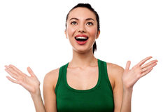 Cute girl laughing heartily with open hands Royalty Free Stock Photo