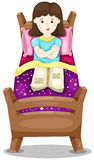 Cute girl lay down in bed with book. Illustration of isolated cute girl lay down in bed with book vector illustration