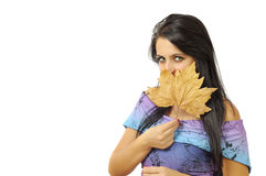 Cute girl with leaf Royalty Free Stock Photos