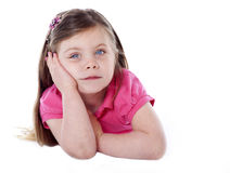 Cute girl leaning on hand isolated on white Royalty Free Stock Photos