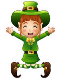 Cute girl leprechaun cartoon jumping Stock Photography