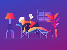 Cute girl with tablet. Cute girl lies on couch with tablet. Rest with book. Vector illustration Stock Images