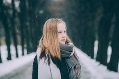 Cute Girl with light hair in Winter Park Outdoors stock images
