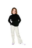 Cute girl in light pants and dark shirt royalty free stock photo