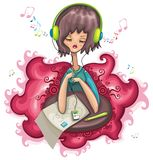 Cute girl is listening music. Vector illustration Royalty Free Stock Images