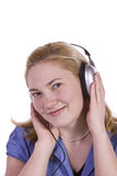 Cute Girl Listening to Music Royalty Free Stock Image