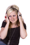 Cute Girl Listening to Music Royalty Free Stock Photography